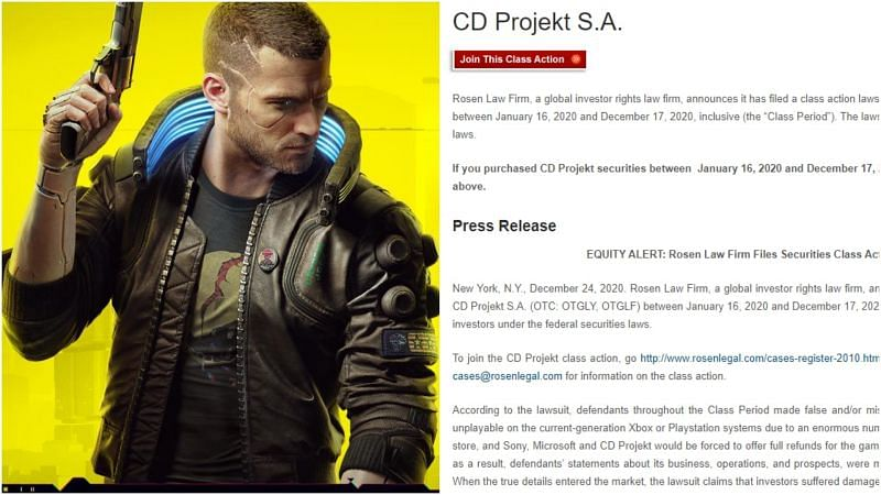 It seems like Cyberpunk 2077 is not out of hot water yet as a class-action suit has been filed against CD Projekt Red (Image via cyberpunk.net, Rosen Law Firm)