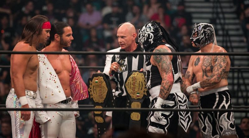 The Lucha Bros as AAA Tag Team Champions at AEW Double or Nothing