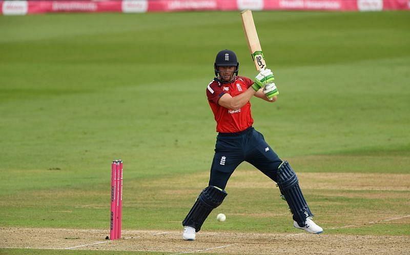 Jos Buttler batting for England.
