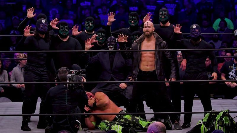 The Dark Order ending a December 2019 episode of AEW Dynamite.