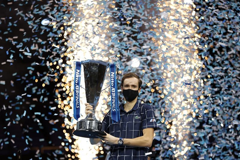 Daniil Medvedev with the Nitto ATP World Tour Finals trophy