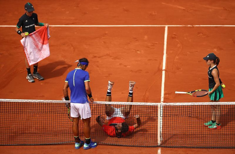 Rafael Nadal and Benoit Paire at the 2017 French Open
