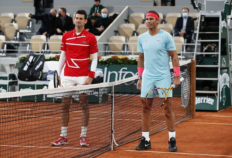 Rafael Nadal and Novak Djokovic prior to the start of the 2020 French Open final