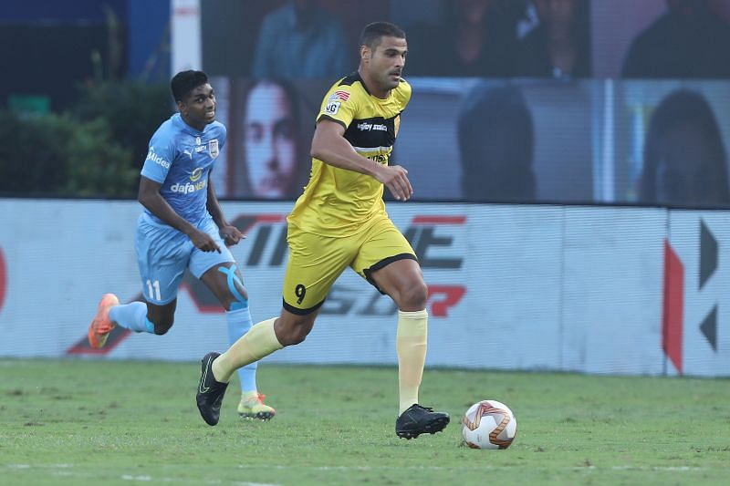 Kerala Blasters FC will have to contain the likes of Aridane Santana at the back. (Image: Hyderabad FC)