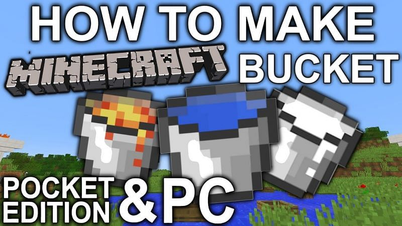 A brief Minecraft guide on how to craft a bucket in Minecraft. (Image via 52HIDER/YouTube)