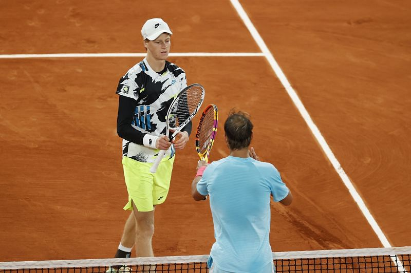 Jannik Sinner and Rafael Nadal at the French Open