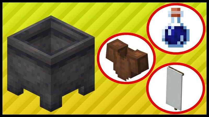 A brief guide on the uses for a cauldron in Minecraft. (Image via RajCraft/YouTube)