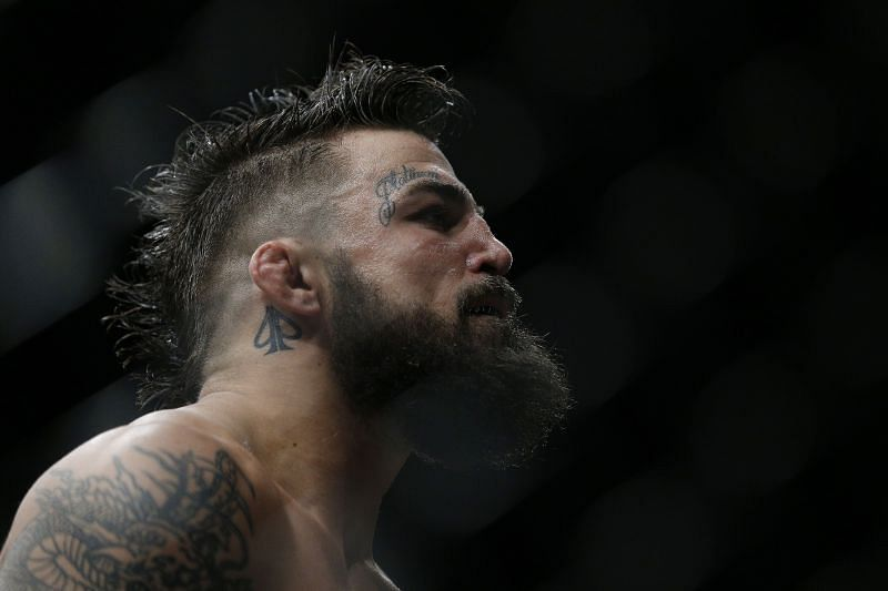 Mike Perry looks on during a welterweight bout