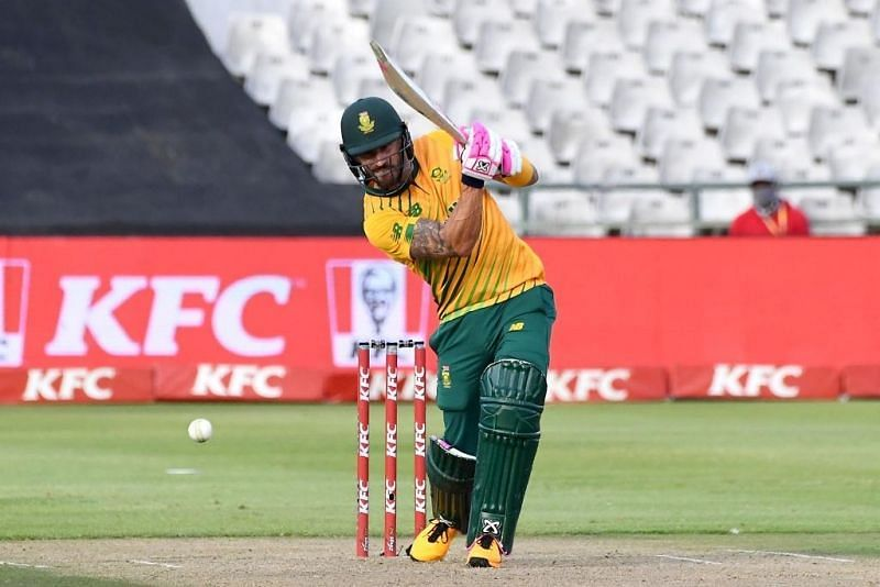 Faf du Plessis in action during the South Africa vs England T20Is (Image Credits: ICC/Twitter)