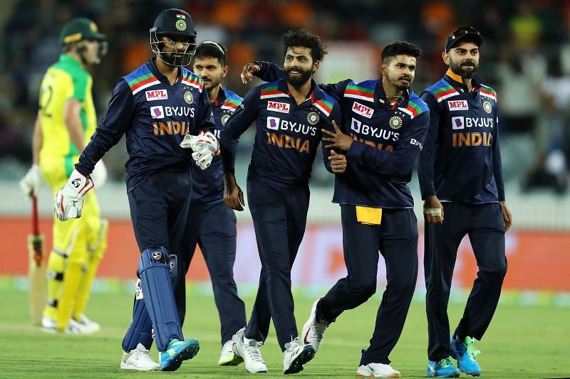 Ravindra Jadeja celebrates after accounting for Aaron Finch in the third ODI