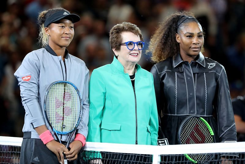 Naomi Osaka with Billie Jean King and Serena Williams at the 2018 US Open