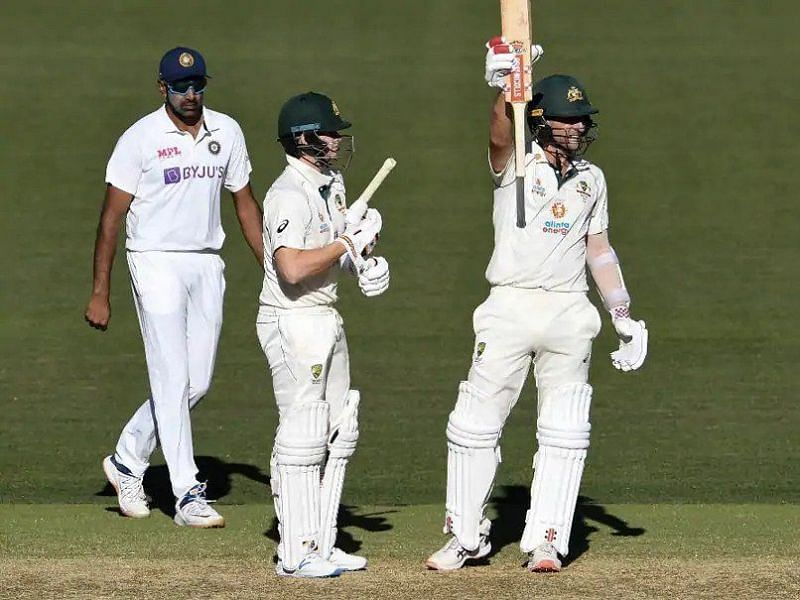 Joe Burns celebrates after scoring a half-century against India at the Adelaide Oval