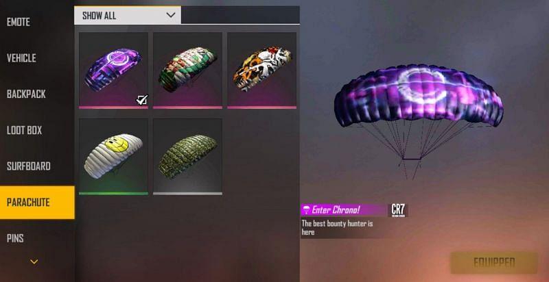 Enter Chrono parachute skin