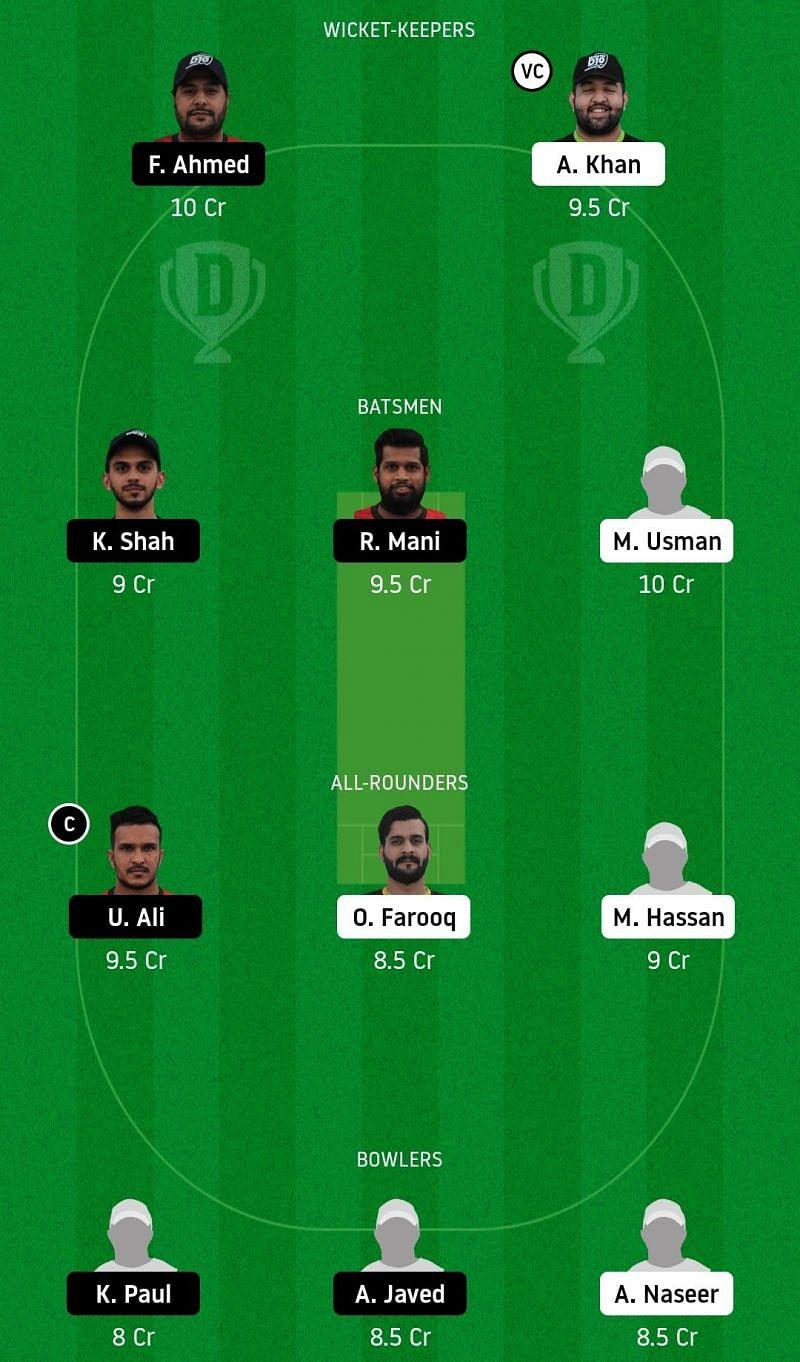 Dream11 Team for Dubai vs Sharjah - Emirates D20.