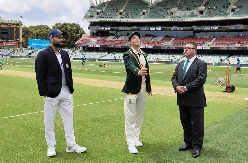 Virat Kohli and Tim Paine at the toss at Adelaide. Pic: BCCI/Twitter