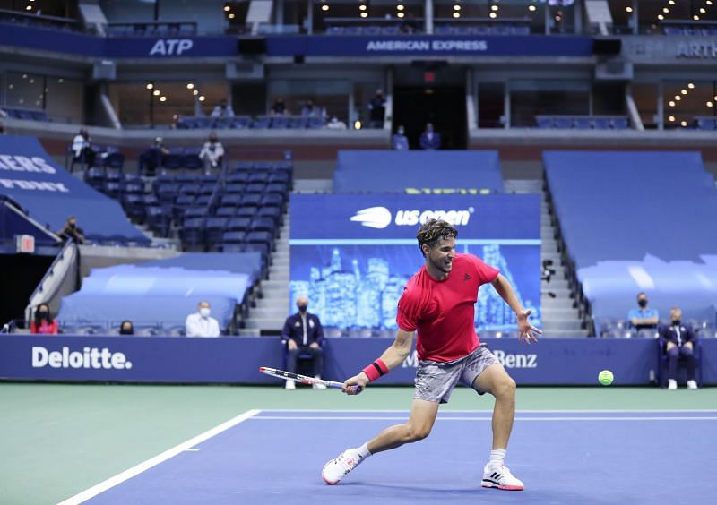 Dominic Thiem strikes a forehand at the US Open final