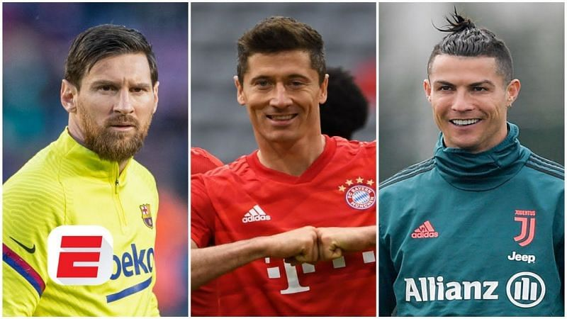 GOAT nominees: Lionel Messi, Robert Lewandowski and Cristiano Ronaldo (from left to right)