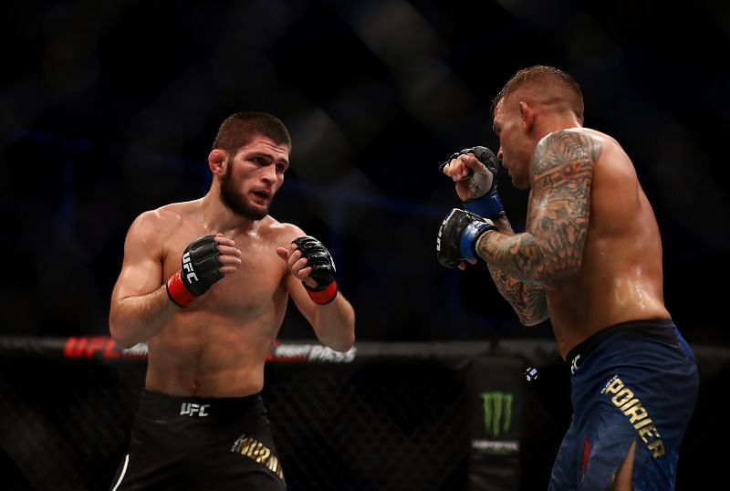 Khabib Nurmagomedov of Russia compete against Dustin Poirier of United States