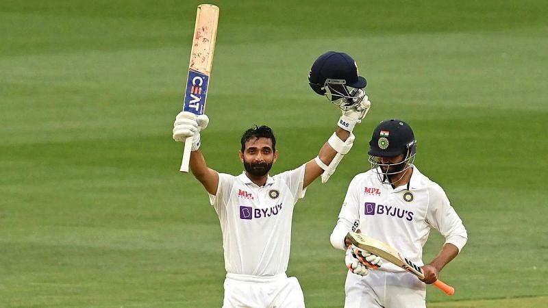 Ajinkya Rahane celebrates after his hundred at the MCG