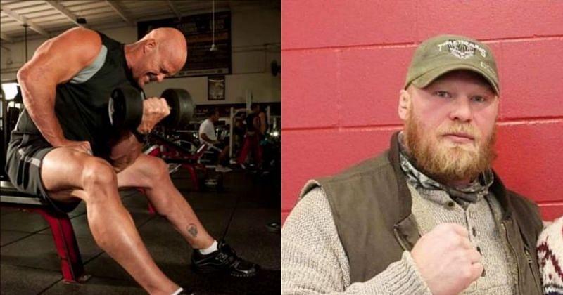 Steve Austin and Brock Lesnar.