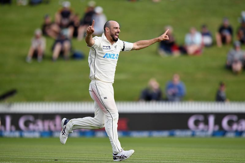 Daryl Mitchell celebrating the wicket of Jason Holder
