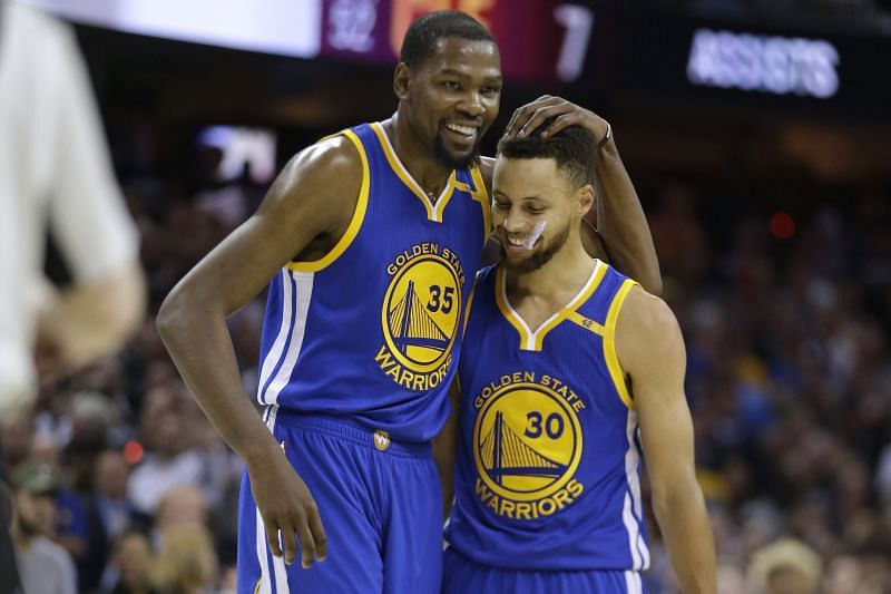 Stephen Curry and Kevin Durant as teammates in the Golden State Warriors