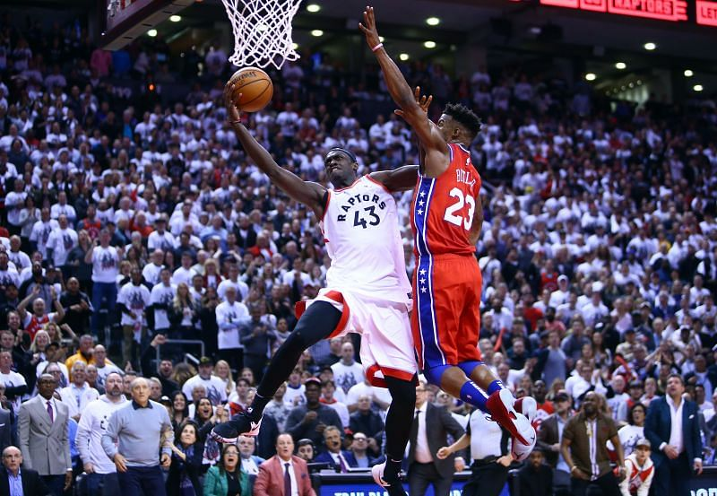 The Toronto Raptors beat the Philadelphia 76ers in game 7 of the Eastern Conference Finals in 2018-19