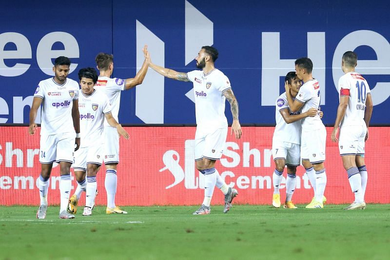 Chennaiyin FC players celebrate after getting the lead from Lallianzuala Chhangte (Image Courtesy: ISL Media)