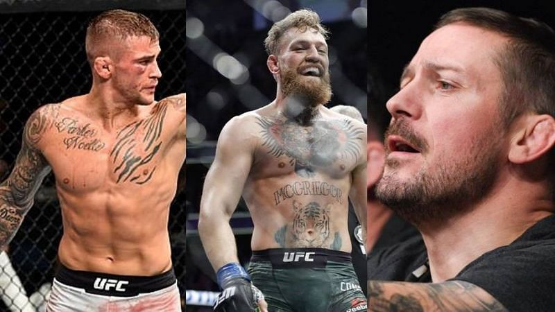 Dustin Poirier (left); Conor McGregor (center); John Kavanagh (right)
