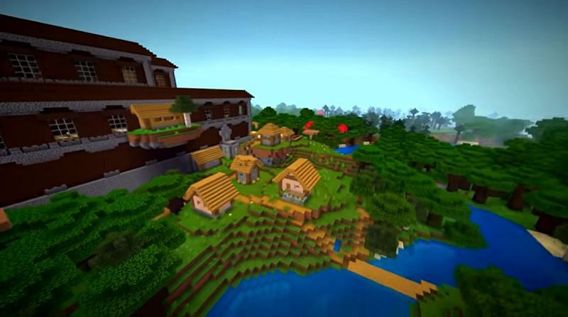 A Minecraft seed where a house from a village has spawned attached to a mansion, almost acting like a balcony. (Image via Minecraft & Chill/YouTube)