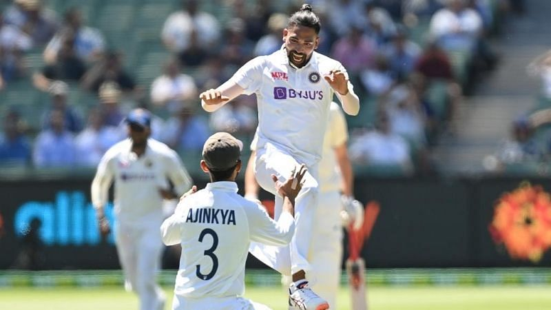 Mohammed Siraj celebrates his maiden Test wicket. Pic: ICC/ Twitter