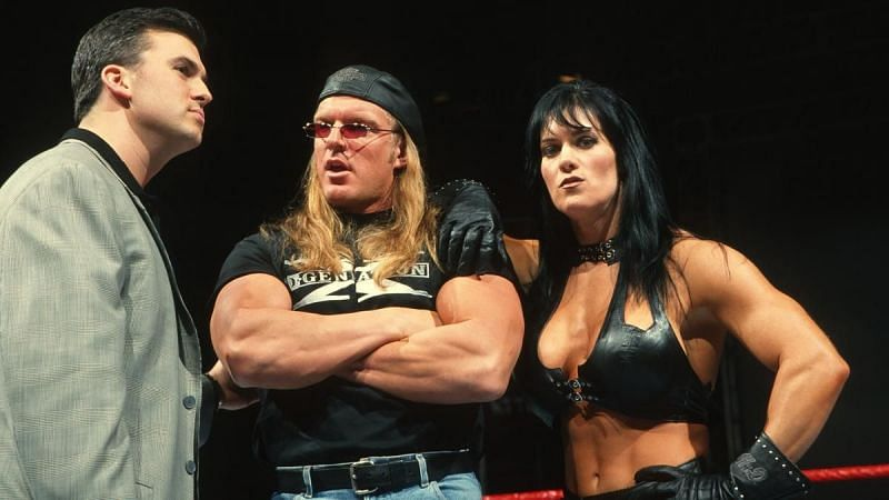Left to right: Shane McMahon, Triple H, Chyna