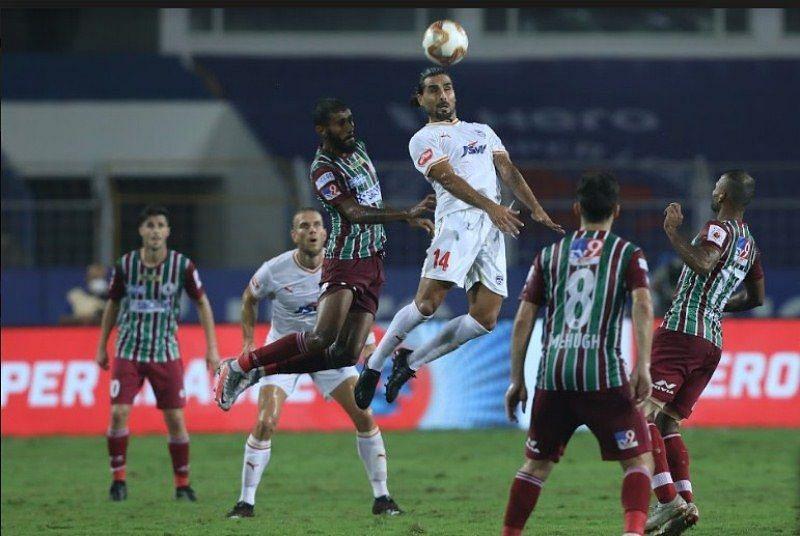 Dimas Delgado (in white) in action for Bengaluru FC against ATK Mohun Bagan (Courtesy - ISL)
