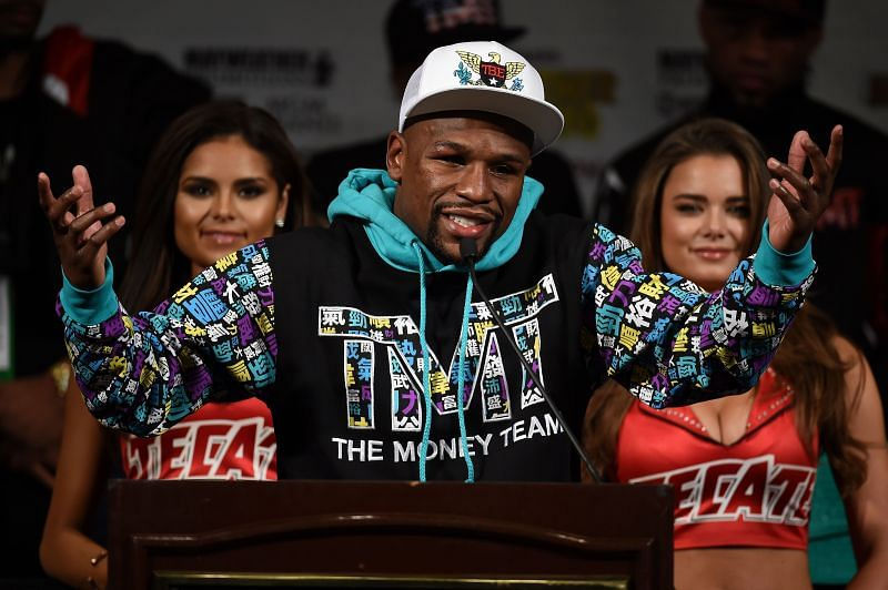 Floyd Mayweather Jr. speaks during a post-fight news conference