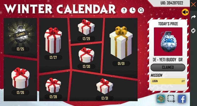 The Winter Calendar in Garena Free Fire