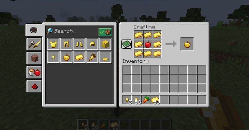 The crafting recipe for a golden apple in Minecraft (Image via Minecraft)