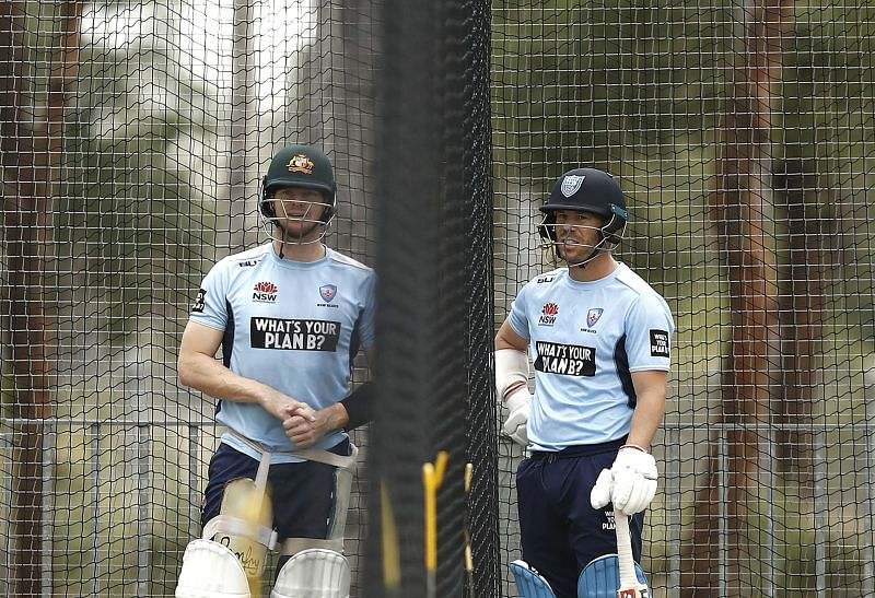 Steve Smith (left) and David Warner in a practice session for New South Wales.