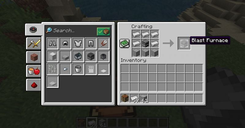The crafting recipe for a blast furnace in Minecraft. (Image via Minecraft)