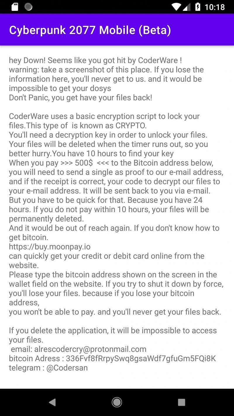 Ransomeware message (Image via sh1shk0va on Twitter)