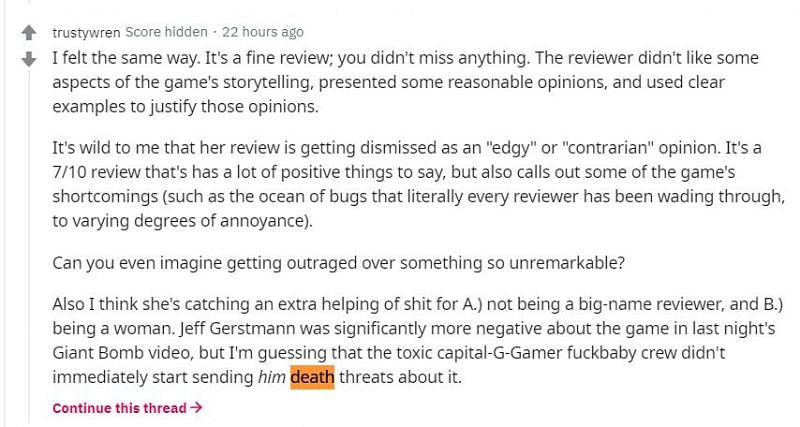 Some users talked about a similar review from another male journalist who did not receive the same kind of hatred (Image via r/cyberpunkgame, Reddit)