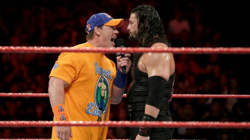 John Cena and Roman Reigns in WWE courtesy of CBS Sports