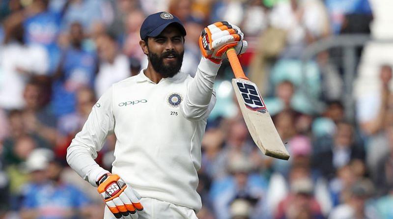 Ravindra Jadeja celebrates after scoring his half-century.
