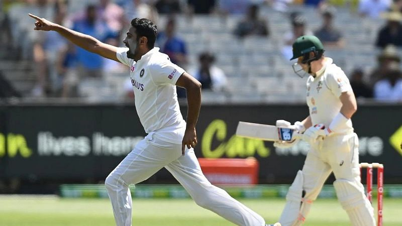 Ravichandran Ashwin celebrates after picking up the wicket of Steve Smith for a duck