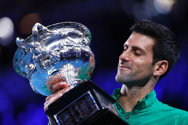 Novak Djokovic with the 2020 Australian Open trophy