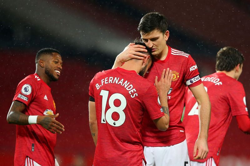 Manchester United captain Harry Maguire and Bruno Fernandes