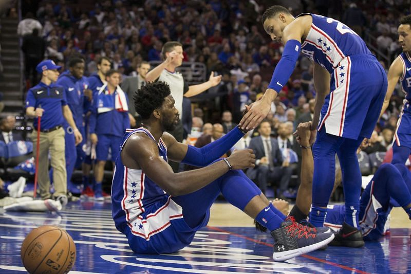 Ben Simmons and Joel Embiid of the Philadelphia 76ers