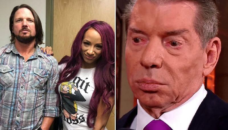 AJ Styles, Sasha Banks, and Vince McMahon