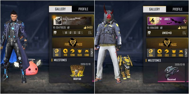 Free Fire IDs of SK Sabir Boss and BUDI01 Gaming