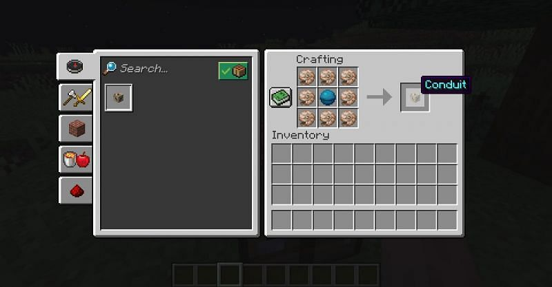 The crafting recipe for a conduit in Minecraft. (Image via Minecraft)