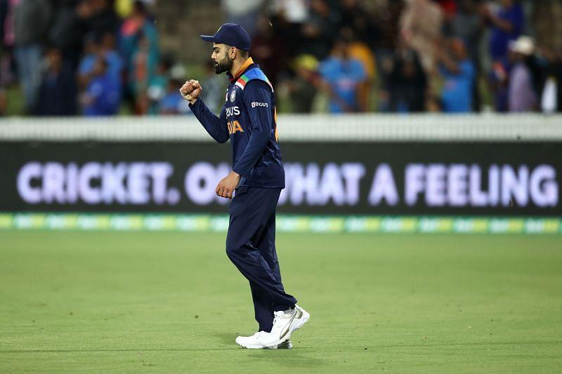 Virat Kohli celebrates during the second T20I between India and Australia at Sydney.
